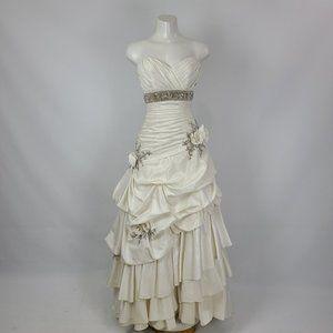 Mori Lee Silver Rose Detail Wedding Dress Size 8